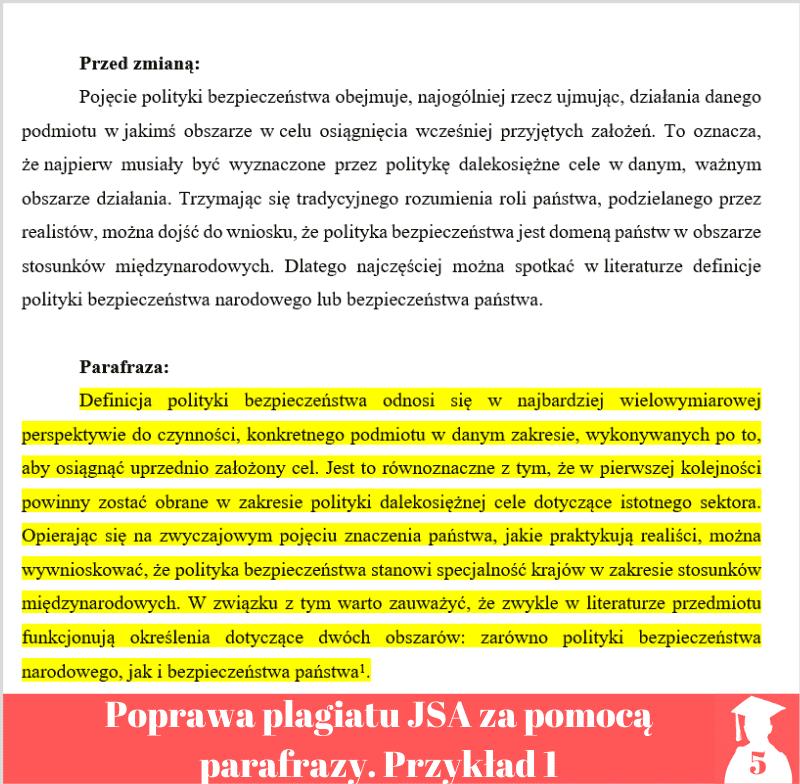 Poprawa plagiatu Jednolity System Antyplagiatowy parafraza przykład 1