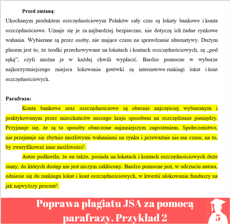 Poprawa plagiatu Jednolity System Antyplagiatowy parafraza przykład 2