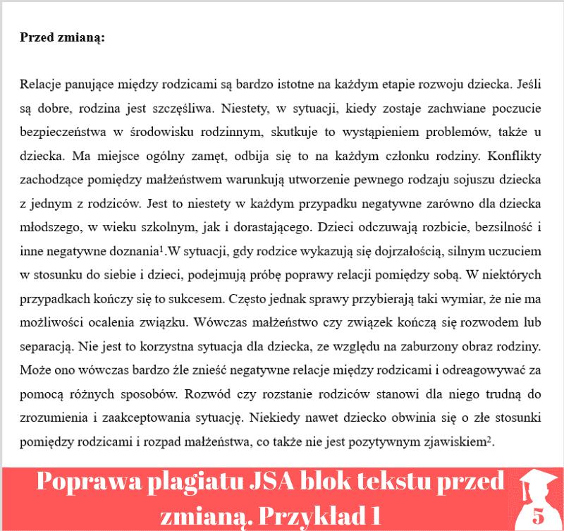 poprawa plagiatu jednolity system antyplagiatowy blok tekstu przed zmianą 1