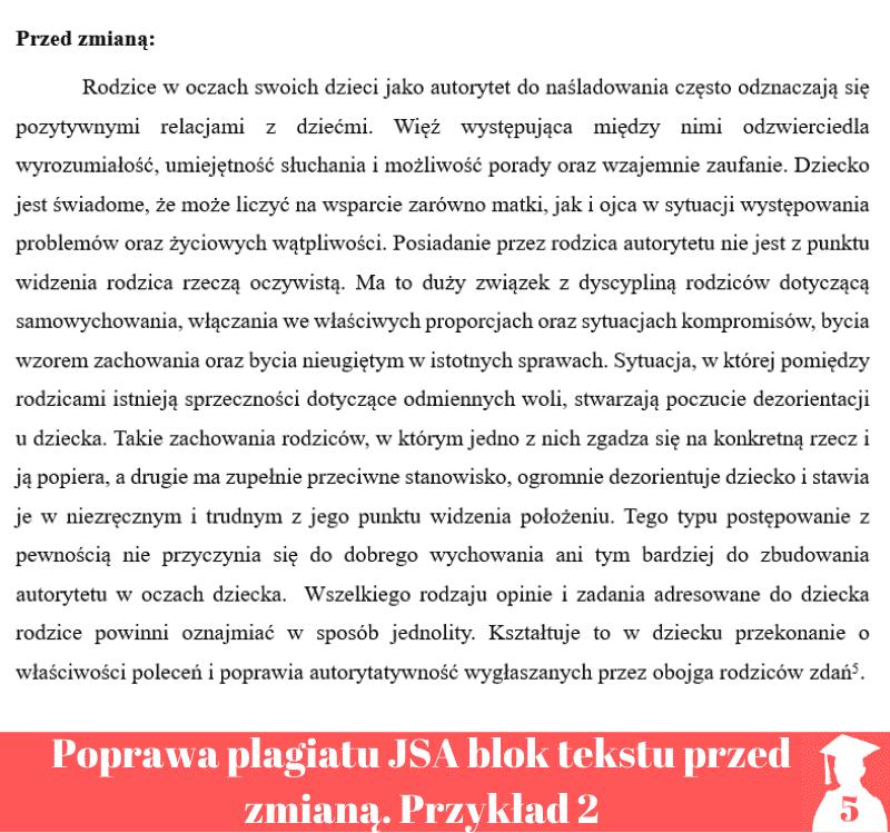 poprawa plagiatu jednolity system antyplagiatowy blok tekstu przed zmianą 2