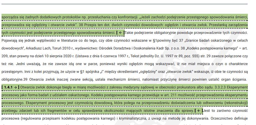 JSA podobieństwa do aktów prawnych w raporcie szczegółowym
