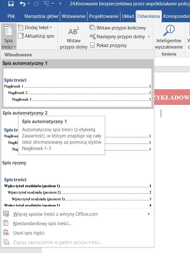 Generuj spis treści w Wordzie 2016