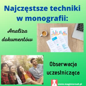 Techniki badawcze stosowane w monografii
