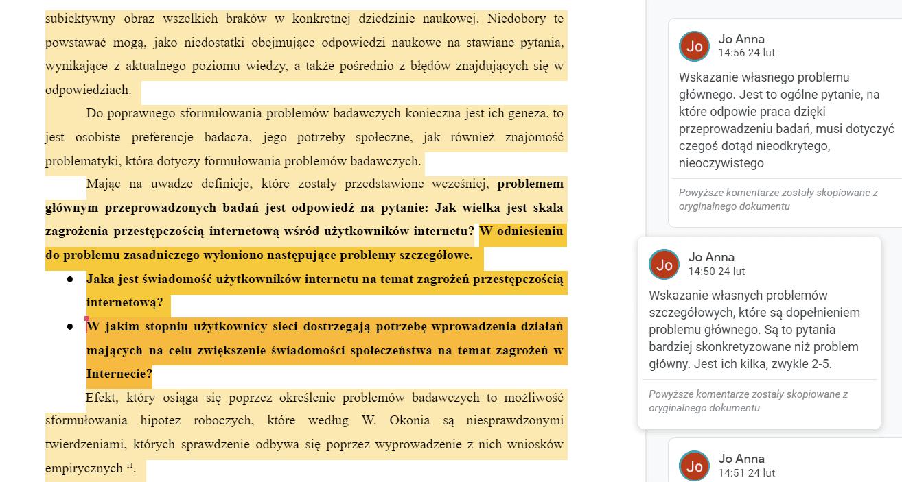 przykłady problemów badawczych